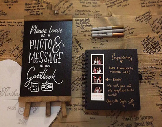 Photo booth hire guest book example
