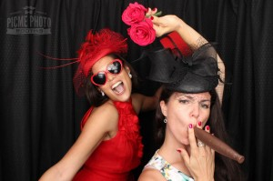 red dress flower photo booth
